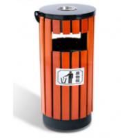 厂家直销定制户外钢木单筒垃圾箱公园景区环卫果皮商场环保垃圾桶