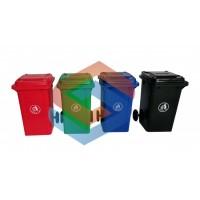 户外垃圾桶干湿分类 拉圾筒带盖商用环卫120L分离室外大号