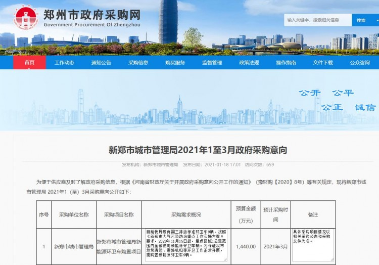 1440万元!河南省新郑市购置新能源环卫车项目采购意向发布